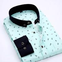 resmi elbiseler polka noktaları toptan satış-Polyester Yeni Bahar Erkekler Casual Gömlek Moda Uzun Kollu Marka Düğme-Resmi Örgün İş Puantiyeli Çiçek Erkekler Elbise Gömlek Çuha