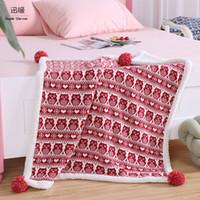 manta de algodón rojo al por mayor-Inicio Warm camo Fleece Manta de algodón Red and Blue Owl Design Edredón de viaje Para niños Sleeping Cover Plaid for Bed 75 * 100cm