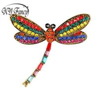 изысканные женщины оптовых-DreamBell Retro Refined Brooches Insect Dragonfly Shape Colorful Shimmer Rhinestone Breastpin for Women Girls' Xmas Gift