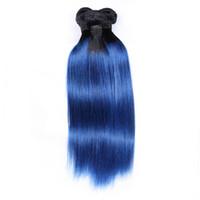 extensiones de cabello más vendidas al por mayor-El pelo virginal peruano de mayor venta de Ombre teje paquetes de dos tonos 1B / azul brasileño peruano de Malasia Extensiones de cabello humano azul recto
