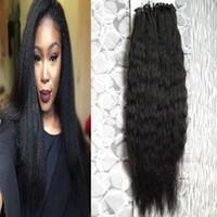 extensiones de cabello grueso al por mayor-Grueso Yaki Micro Bead Remy Cabello humano 100g Kinky Straight Hair Natural Loop Micro Anillo Real Extensiones de cabello Bundles 100s 10