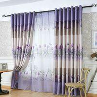 tela azul china al por mayor-Estilo chino tulip floral planta de impresión de poliéster cortina de ventana para sala de estar dormitorio cocina personalizada cortinas