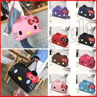 lindas bolsas de maquillaje cosmético al por mayor-Cute Cartoon Hello Kitty Mujeres grandes plegables plegables bolsa de viaje de mano Maletines de maquillaje Bolsas de cosméticos 10 colores