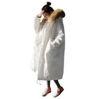 chaqueta militar mujer blanca al por mayor-Mujeres engrosadas Abrigo de Invierno Abrigo de Gran Tamaño Largo Grande de piel de mapache con capucha chaqueta militar 2017 Marca pato blanco abajo parkas QXQ019