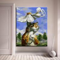 dibujo de paraguas al por mayor-Pintura al óleo digital por números kits de bricolaje dibujo gato gigante llevado el paraguas de flores fotos decoración del hogar de dibujos animados ilustraciones de la pared