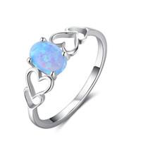 925 ringe blaues herz großhandel-Pop White Rhodium Plated Genuine New Neueste Stil Blau Oval Opal Edelstein Herzform 925 Sterling Silber Solitaire Ring