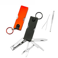 Wholesale free shipping swiss knives for sale - Group buy Mini Fashion Keychain Swiss Knife LED Lights Nail Clippers Earpick Scissors Tweezers Pocket Multifunction Hand Tools