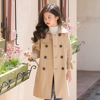 Wholesale Overcoat For Kids Long Coats Turn down Collar Double Breasted Solid Color Causal Cute Style Fashion Slim Warm Clothes For Y