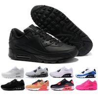 nefes alabilen ayakkabılar erkekler toptan satış-Toptan Moda Erkekler Sneakers Ayakkabı Klasik 90 Erkekler ve kadınlar Koşu Ayakkabıları Spor Eğitmeni Yastık 90 Yüzey Nefes Spor Ayakkabı
