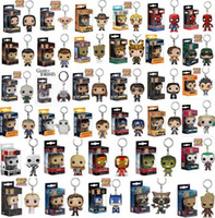 Wholesale Pop Heroes - Funko POP Marvel Super Hero Harley Quinn Deadpool Harry Potter Goku Spiderman Joker Game of Thrones Figurines Toy Keychain OTH030