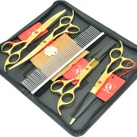 Wholesale golden hair cutting scissors resale online - Hot Sell Meisha Inch Golden Pet Grooming Scissors set Japan c Cutting Shears Thinning Tijeras for Animals Hair Trimmer HB0090