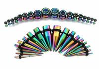 ensembles de kits à cône achat en gros de-36Pcs / Set 1.6-10mm 316L Bouchons d'oreille bouchons d'oreille jauge étirement Kit Piercing pour femmes hommes bijoux de corps 3 couleur Punk Style boucle d'oreille G75L