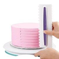 наборы для выпечки оптовых-6 стиль кондитерские обледенения гребень Набор пластиковых помадной шпатели торт скребок выпечки украшения инструмент торт кухня формы для выпечки инструмент