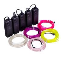 cabo flexível de néon venda por atacado-3 V Luz Neon Brilho El Corda Flexível Tubo de Fio À Prova D 'Água LED 1 m 3 m / 5 para Decorações em festa Car Garments + Controlador