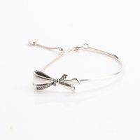 Wholesale engraved sterling silver gifts online - Real Sterling Silver Brilliant Bow Bracelet Clear CZ with LOGO Engraved fit Pandora Charms and Bead