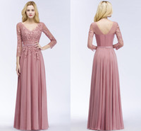Wholesale pageant dress designers resale online - 2018 New Designer Dusty Pink Long Prom Dresses with Sleeves Floral Appliqued Formal Evening Party Pageant Gowns After Party Dresses CPS911