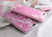 flor do brilho do caso do iphone venda por atacado-Yunrt diamante light líquido glitter quicksand phone case para iphone 6 6 s 6 plus 7 7 plus 8 8 plus flor padrão case capa