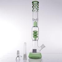 18.8 mm yeşil kase toptan satış-2016 Yeni yeşil cam su boruları Lavanta cam bong cesaret bongs Spiral filtrasyonİki fonksiyonları 18.8mm cam kase kubbe tırnak nargile