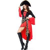 Wholesale pirates costumes for women resale online - Halloween Cosplay Pirate Costume for Women Plus Size Red Bell sleeve Luxury Carnival Festival Spain Buccaneer Uniform with Hat