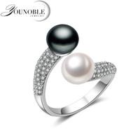 Doppel Perlen Blume Weibliche Ringe 925 Silber Ringe Für Frauen 925 Original Fenasy Perle Schmuck Natürliche Süßwasser Perle Ringe