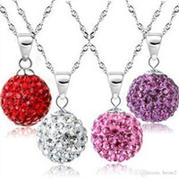Wholesale Quartz Red Necklace - Diamond ball necklace Korean version of South Korea, Europe and the United States jewelry wholesale silver plated jewelry natural crystal Sh