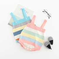 Wholesale wool strips resale online - baby kids clothing romper Autumn baby jumper halter belt vest knit wool pure cotton baby rainbow stripped design clothes