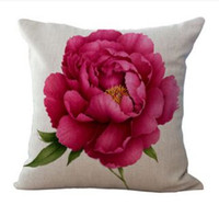 Wholesale flowers living room sofa for sale - Cushion Cover Linen Flower Decorative Cushion Covers for Sofa Seat Cushion Cover Printed Vintage Home Decoration Living Room