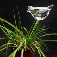 ingrosso pentole da giardino-2pcs ecologico / Lot per la casa Uccelli Forma Giardino Vetro piante Vasi di fiori di vetro coperta Giardino di irrigazione automatica Vasi in vaso