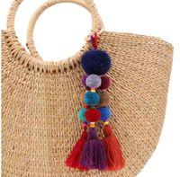 Wholesale decoration hanging beads - Bohemian Style Wood Beads Key Chain Pompom Key Ring Bag Hanging Pendant Decoration