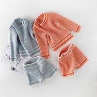 roupa laranja azul venda por atacado-Everweekend bebê meninas camisola de malha criança macacão roupas cor azul orange tops e calças 2 pcs define new born baby clothing