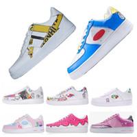 Wholesale fashion sneakers cartoons - Graffiti 1 Classic Low Skateboarding Shoes One Cartoon Designer Mens Womens Running Shoes Fashion Casual Sneakers Kaws Doraemon Takashi