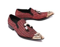 ingrosso teste di bowtie-Nuove strade di lusso Moda punta rossa in metallo testa di perle bowtie scarpe da sposa appartamenti abito ritorno a casa scarpe formali plus size 45-46