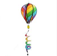rüzgar balonu toptan satış-Çizgili Gökkuşağı Windsock Sıcak Hava Balon Rüzgar Spinner Yard Bahçe Dekor Çocuk Oyuncak Açık Kamp Oynamak