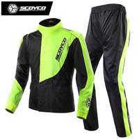Wholesale reflective motorcycle jackets - Scoyco RC01 Men's Waterproof Motorcycle Jacket Pants Reflective Raincoat Sets Motocross Auto Racing Outdoor Sportswear Rain Gear