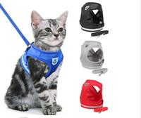 ropa de gatito al por mayor-Respirable reflectante conjunto de arneses y correas para gatos Malla de nylon Gatito Cachorro Perros Chaleco Arnés de cables Ropa para mascotas para perros pequeños