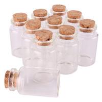 ingrosso piccoli tappi di bottiglie-24pcs 30 * 50 * 17mm 20ml Mini vetro Wishing Bottiglie Minuscole vasi fiale con tappo in sughero regalo di nozze