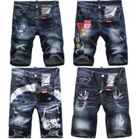 Wholesale medium length coats - free shipping Men's Brand Denim Shorts 2018 High Quality Summer DS Designer Slim Jeans Italian Brand Fashion Shorts