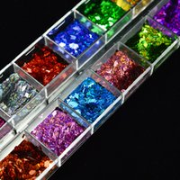 Wholesale gold nail strips - art decorations glitter 1 Case 3D Rhombus Art Decoration Glitter Sequins With Strip Line Laser Sparkly Gold Nail Paillette Flakes