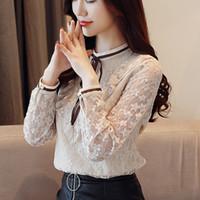 yeni kore dili bluz stilleri toptan satış-2018 Yeni sonbahar kadınlar bluz Kore tarzı papyon çizgisiz dantel gömlek kadın üst iş elbisesi lotus yaprağı Dantel Şifon blusa 1132 40