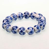 chinesisches porzellanarmband großhandel-Chinesische Art Vintage blau und weiß Porzellan Perlenarmband Frauen Jewelly Zubehör
