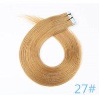 brazilian insan saçı uk toptan satış-Toptan saç uzantıları remy bant İNGILTERE 100% Brezilyalı İnsan saç # 27 20 inç 50g cilt atkı saç uzantıları