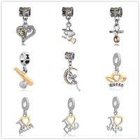 ingrosso gioielli per le nuove mamme-Spedizione gratuita nuova moda creativa DadMom angelo ciondoli charms fit pandora charms donne uomini gioielli braccialetto fai da te ZY001