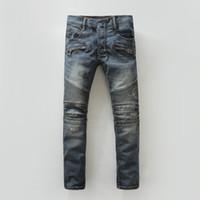 Wholesale denim resale online - Balmain Mens Ripped Skinny Straight Slim Elastic Denim Fit Biker Jeans Pants Long Pants Stylish Straight Slim Fit Jeans