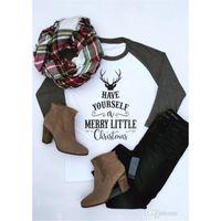 Wholesale letter soft toys online - Christmas Shirt Style Women Long Sleeve T Shirt Elk Xmas Letter Striped Deer T Shirt Casual Santa Claus Blouse Fashion Long Sleeve Shirts