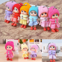 Wholesale Cute Kids Toys Soft Interactive Baby Dolls Toy Key Chain Mini Doll Keychain For Girls Key Ring Key Holder