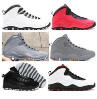 Wholesale Fusion Shoes - High Quality 10 10s Steel Cool Grey Fusion Red Men Basketball Shoes Double Nickel Black White Sneakers New With Shoes Box