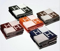 Wholesale Wool Scarf Large - Signature H Throw Blanket Home Travel Autumn Winter Women Scarf Shawl Warm Everyday Blankets Large 170*140cm Brown Black Orange Gift