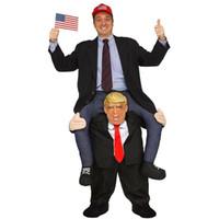 traje de fantasia traje de mascote venda por atacado-Traje de mascote do dia das bruxas passeio em trajes de Donald Trump adulto Animal vestido fantasia calças traje