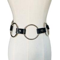 Wholesale gothic punk fashion accessories - Punk metal design Women cool leather belts Fashion Gothic Punk Rock big Metal Circle Ring Chain Designer Waist Belt accessories
