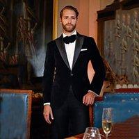 siyah resmi ceket mens toptan satış-Siyah kadife mens takım elbise tasarımcısı 2018 için doruğa yaka resmi erkek ceket düğün balo adam blazer slim fit smokin pantolon